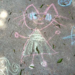 Chalk Kitty Girl found on the sidewalk in my Loshellip